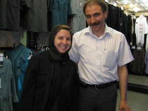 with the man who sold me my first manteau in Tehran