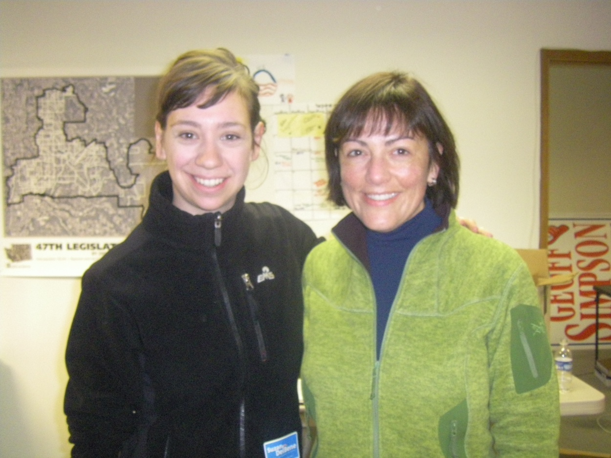 Peace Action West organizer Caitlin with congressional candidate Suzan DelBene.