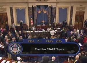 C-SPAN screen shot of the Senate ratifying the New START Treaty