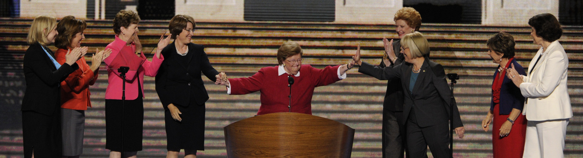 9/5/12 7:35:06 PM -- Charlotte, NC, U.S.A -- DNC -- Democratic National Convention -- Sen. Barbara Mikulski, D-Md., is greeted at the podium by other women Senators.   Photo by H. Darr Beiser, USA TODAY Staff  ORG XMIT: HB 42343 DNC 9/3/2012  (Via OlyDrop)
